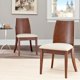 Safavieh Arianna Walnut Dining Side Chairs   Beige Seat   Set of 2   Dining Chairs