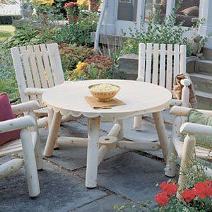 Rustic Natural Cedar Furniture Harvest Family Round Table   Without Umbrella Hole   Patio Tables