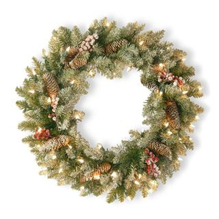 24 in. Dunhill Fir Pre Lit Christmas Wreath WITH Snow Red Berries and Pine Cones   Christmas Wreaths