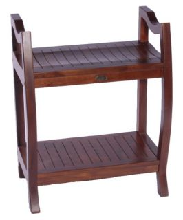 Decoteak Contemporary Teak 24 in. Extended Height Spa Bench with Shelf and Lift Aide Arms   Shower Seats
