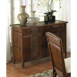 Hospitality Rattan Polynesian Indoor Rattan & Wicker Buffet with Glass Top   Antique   Dining Accent Furniture