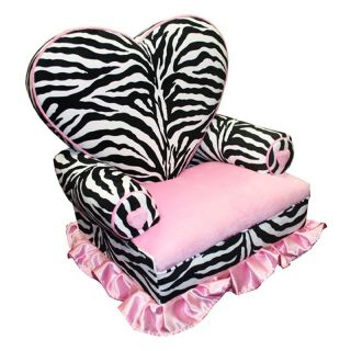 Harmony Kids Princess Heart Chair Minky   Zebra and Hot Pink   Kids Arm Chairs