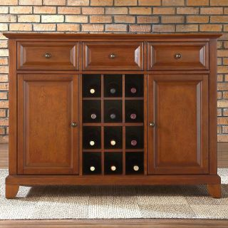 Crosley Newport Buffet Server with Wine Storage   Dining Accent Furniture