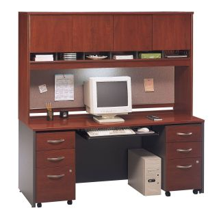 Bush Series C 72 Inch Credenza and Door Hutch Desk with Mobile Files In Hansen Cherry   Computer Desks