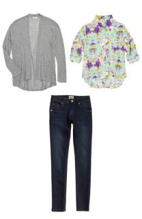 Soprano Cardigan, Mia Chica Top & Hudson Kids Jeans (Big Girls)