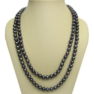 Black Freshwater Pearl 100 inch Endless Necklace (9 10 mm) DaVonna Pearl Necklaces