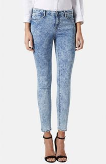 Topshop Moto Leigh Acid Wash Skinny Jeans (Light Denim) (Petite)