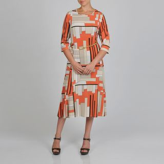 Lennie for Nina Leonard Womens Plus Size Geometric Print 3/4 Sleeve Gold Link Belt Dress Dresses