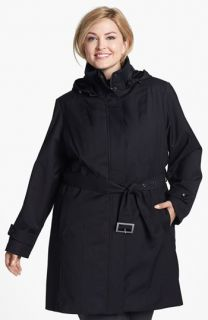 Kristen Blake Knit Collar Raincoat with Detachable Hood & Liner (Plus Size)