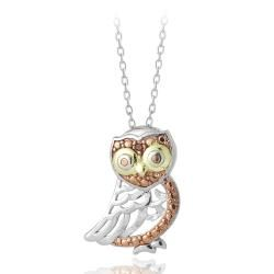 DB Designs Tri color Gold over Sterling Silver Red Diamond Accent Owl Necklace DB Designs Diamond Necklaces