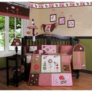 Ropa para cuna con mariquitas y flores, 13 pzs. Geenny Bedding Sets