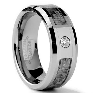 Tungsten Carbide Men's CZ and Grey Carbon Fiber Inlay Ring (8 mm) Men's Rings