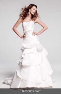 Hayley Paige Pearl Embellished & Tiered Silk Shantung Dress (In Stores Only)
