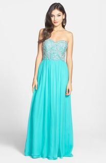 Sean Collection Embellished Strapless Silk Gown