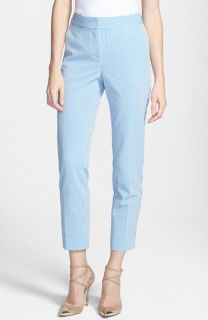 St. John Yellow Label Emma Stretch Seersucker Capri Pants