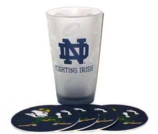 Notre Dame Fighting Irish NCAA 16oz Logo Pint Glass & 4 Piece Coaster Set: Kitchen & Dining