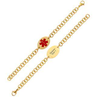 Goldplated Stainless Steel Oval Medical ID Bracelet (Pre engraved) Gold Overlay Bracelets