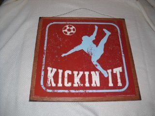 Kickin It Soccer Boys Sports Bedroom Wooden Wall Art Sign   Childrens Wall Decor