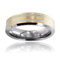 Tungsten Carbide Gold Laser etched Double Stripe Ring Men's Rings