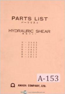 Amada Model H  Hydraulic Shear English Japanese Parts Lists Manual: Amada: Books