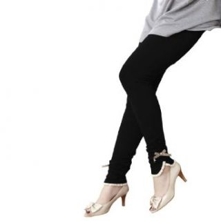 Allegra K Pregnant Women Elastic Waist Wrinkle Bowknot Lace Leggings Black XS: Clothing