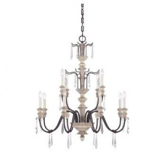 Savoy House 1 4342 12 192 Chandelier with Clear Crystal Icicles Shades, Wood and Iron Finish: Home Improvement