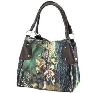 Camouflage Bucket Purse Brown Trim Camo Canvas Hobo Bag: Shoes