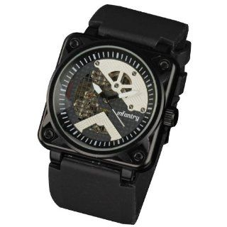 INFANTRY Mens U.S Military Semi Automatic Skeleton Mechanical Analog Black Resin Strap Sport Wrist Watch Square Dial #IN 023 MC R: Watches
