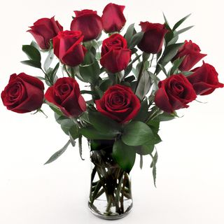 One dozen Red Roses in a Glass Vase Sweets in Bloom Rose Bouquets