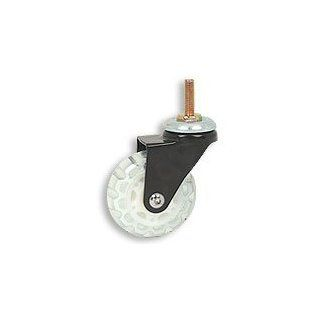 Cool Casters   Translucent Skate Wheel Caster, Clear / White Wheel, Black Yoke, Threaded Stem No Brake   Item #100 64 CLGY BL SP WB: Industrial & Scientific