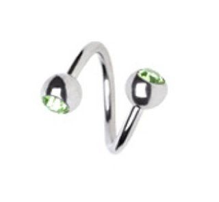 "Green Steel Double Gem Twist Navel Ring Belly Button Piercing Jewelry 14G 7/16"": Jewelry"