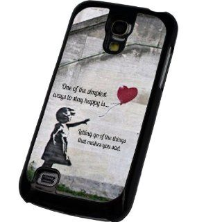 Black Frame Samsung Galaxy S4 Mini i9190 Banksy Graffiti Art Balloon Girl (one of the simplest ways to stay happy) Design Case Back Cover Hard Plastic And Metal: Cell Phones & Accessories