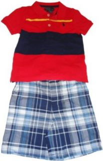 Infant Boy's Polo by Ralph Lauren 2 Piece Outfit Red Striped Shirt with Plaid Shorts (3 Months): Clothing