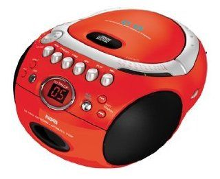 Naxa NX 235 Portable CD Player with AM/FM Stereo Radio Cassette Player/Recorder RED  Boomboxes
