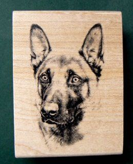 German shepherd dog portrait rubber stamp P7