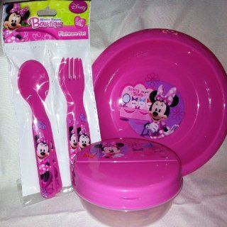 Disney Minnie Mouse Plastic Bowl, Container, & Flatware Set Kitchen & Dining