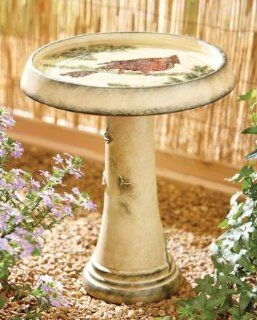 "16"" Rustic Illustrated Birdbath with Red Cardinal Detailed Mosaic : Patio, Lawn & Garden"