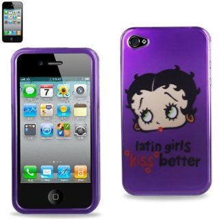 "Betty Boop Fitted Snap On HARD Faceplate Protector Case Cover (""latin girls kiss better"" with Purple Background) for Apple iPhone 4S / 4G / 4 (Fits any carrier AT&T, VERIZON AND SPRINT) + Free WirelessGeeks247 Detachable Neck Strap / Lanyard:"