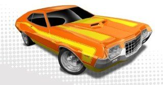 Hot Wheels   '72 Ford Gran Torino Sport (Orange w/Yellow Stripes)   Muscle Mania, Ford 12   7/10 ~ 117/247 [Scale 1:64]: Toys & Games