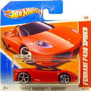 2011 Hot Wheels Red FERRARI F430 SPIDER #190/244, Thrill Racers Highway #4/6 (Short Card): Toys & Games