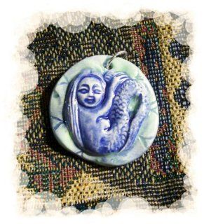 *Mermaid* Mosaic Tile or Pendant   Handmade Kiln Fired Ceramic   Aqua/Blue