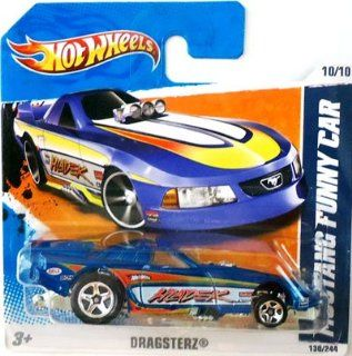 2011 Hot Wheels (Blue) MUSTANG FUNNY CAR #130/244, Dragsterz #10/10 (Short Card): Toys & Games