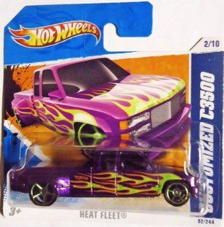 2011 Hot Wheels CUSTOMIZED C3500 (Metallic Purple Truck) #92/244, Heat Fleet #2/10 (Short Card): Toys & Games