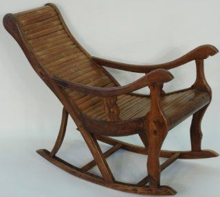 JJ1001X Chinese Rocking Lounge Chair, Circa 1950's, China, Wood (Mu) and Bamboo (Zhuzi), Antique Asi