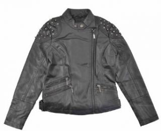 Yoki Big Girls Black Faux Studded Leather Short Outerwear Jacket (7): Clothing