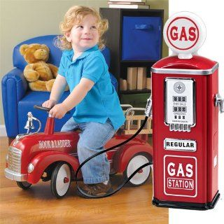 Steel Gas Pump wtih Hook & Ladder Firetruck: Toys & Games
