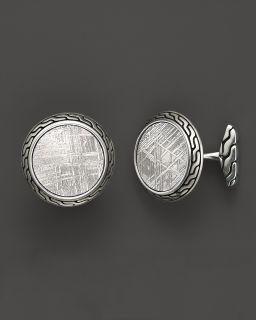 John Hardy Men's Classic Chain Silver Batu Round Cufflinks with Meteorite's