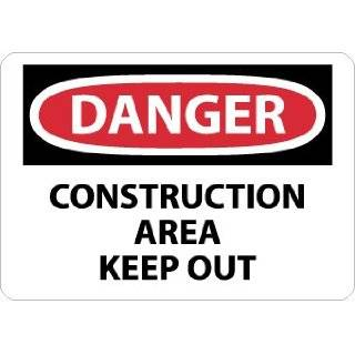 """NMC D404RD OSHA Sign, Legend """"DANGER   CONSTRUCTION AREA KEEP OUT"""", 28"""" Length x 20"""" Height, Rigid Plastic, Red/Black on White: Industrial Warning Signs: Industrial & Scientific"""
