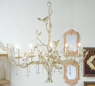COUNTRY metal CHANDELIER antique white BIRDS electric