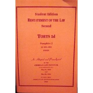 Restatement of the Law Second Torts 2d (Pamphlet 2 281 503 Index): American Law Institute: Books